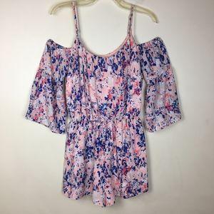 Decree Pink & Blue Floral Cold Shoulder Romper. M
